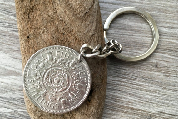 Florin keyring keychain or clip, English Two shilling coin Keyring, 1964, 1965, 1966 or 1967 choose coin year