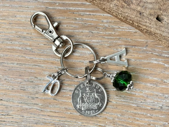 Australian 70th birthday birthstone gift, 1951 Australia sixpence charm, keyring or bag clip, choose initial and birthstone colour
