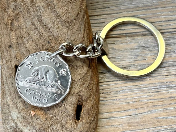 1960 Canadian coin key chain Canada 5 Cent key ring, beaver coin, birthday, anniversary gift, or retirement present for a man or woman