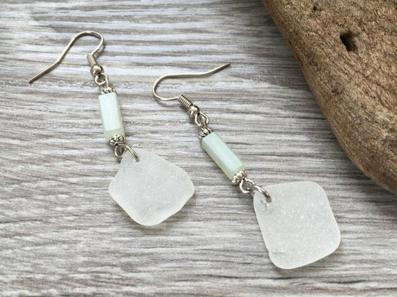 Sea glass long dangle earrings, pale green serpentine, stainless steel ear wires, gift for a woman, sister, mother, friend, boho, hippie,