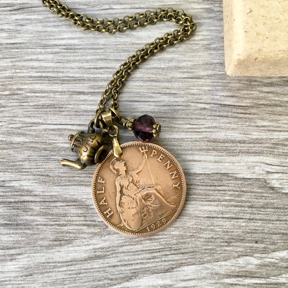 British coin charm necklace, 1928 or 1929 English halfpenny, 90th or 91st birthday gift, UK jewellery present for her, woman, mum, grandma