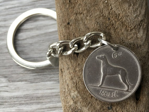 53rd birthday gift, 1966 Irish keychain, vintage coin keyring, dog lover, retirement, anniversary gift, dog keyring, lucky sixpence, celtic
