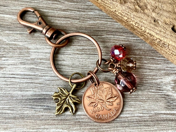 Canada penny charm, maple leaf key chain, Canadian coin bag clip, choose coin year, 40th birthday gift, present for her, woman,