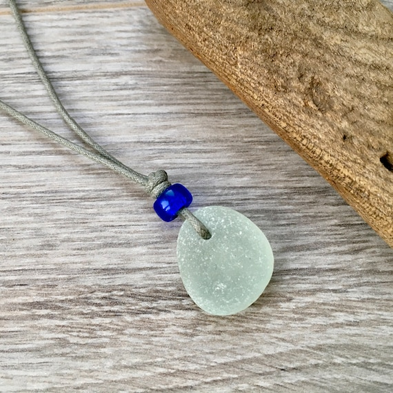 sea glass pendant, beach glass necklace, natural simple vegan jewellery, recycled, adjustable thick waxed cotton cord, blue