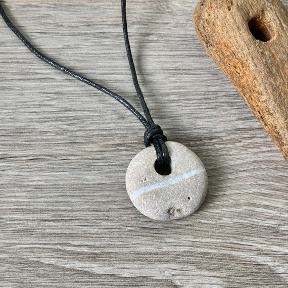 Raw stone necklace, found pebble pendant, natural jewellery, vegan necklace, black thick cotton cord, unisex rock jewellery
