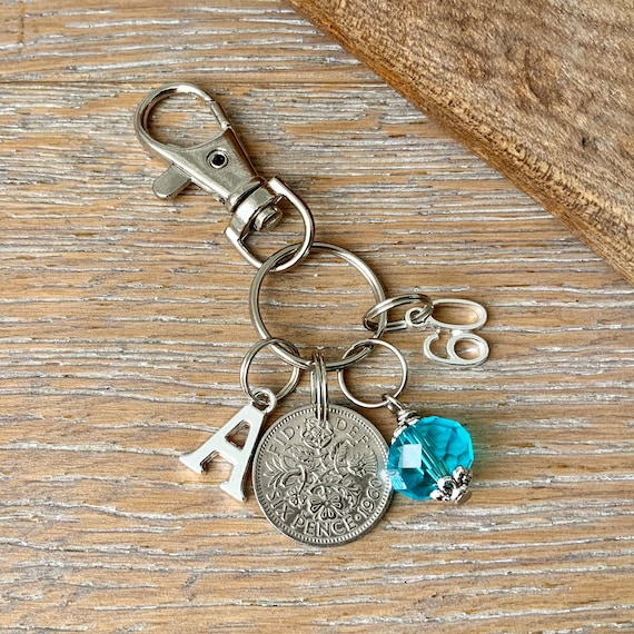 60th Birthday gift, birthstone charm, 1960 sixpence keyring or bag clip, choose initial and birthstone colour