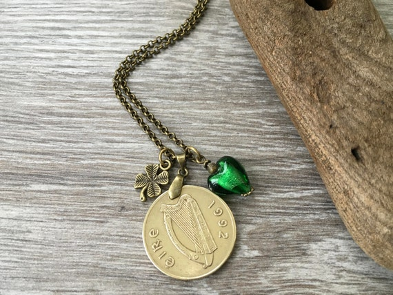 1992 Irish long coin necklace, green heart and shamrock pendant, 27th birthday or anniversary present for a woman