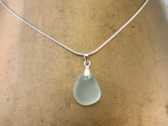 Dainty natural sea glass pendant, genuine beach glass necklace, mermaids tears jewellery, Cornish gift for a woman