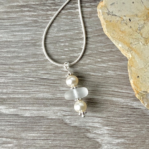 Sea glass and faux pearl dainty pendant necklace, white jewellery