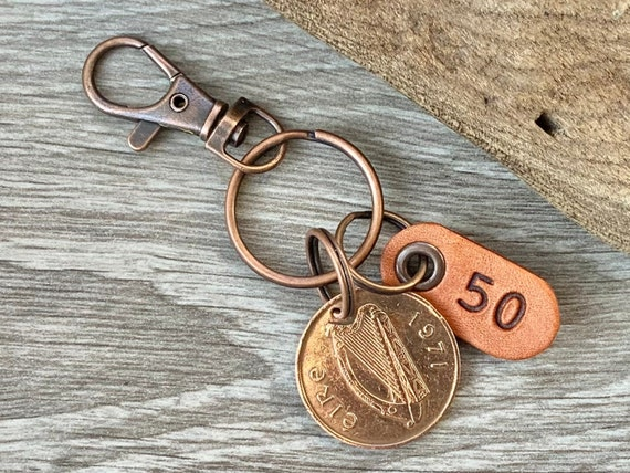50th birthday gift, 1971  Irish Two pence coin keychain, keyring or clip, with a handmade leather number 50 tag anniversary present