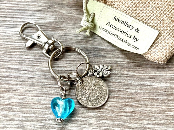 1959 Lucky sixpence keychain, keyring, or clip, choose charm elephant, dragonfly, moon or lucky clover, 62nd birthday or anniversary gift