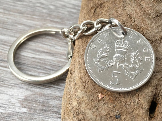 50th or 51st birthday gift, 1968 or 1969 British coin keychain, Scottish thistle keyring, Scotland, small present for him, her, man, woman