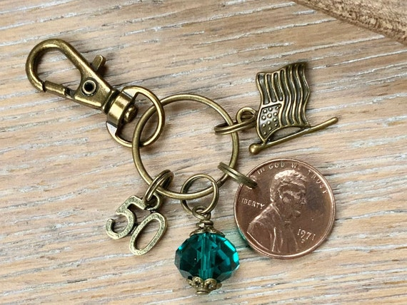 Lucky 1971 penny clip, 50th birthday gift, USA coin keychain, American one cent keyring, anniversary  present for a woman