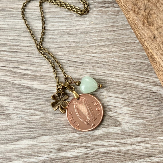 Irish penny necklace, choose coin year, Ireland keepsake birthday or anniversary gift for a woman, wife or girlfriend