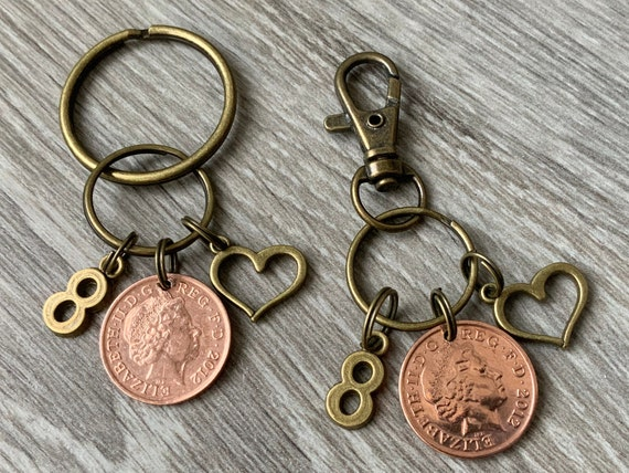 8th anniversary gift, 2012 wedding, bronze anniversary, couples present mr and mrs gift 2 keyrings pair of keychains, lucky pennies