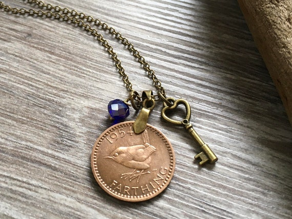 65th birthday gift, 1954 farthing necklace, wren coin, bird charm pendant, keepsake gift for her, woman, mum, grandma, antique style Jewelry