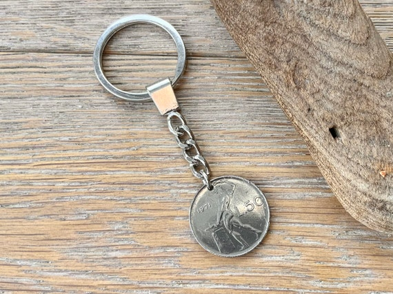 1971 Italian coin key ring, 50th birthday gift, Italy 50 lire key chain, 50th anniversary present
