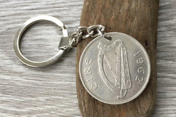 1962 Irish half crown coin key chain, celtic key fob, horse key ring perfect for a 59th birthday gift