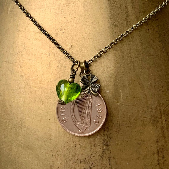 40th birthday or anniversary gift, 1978, 1979 or 1980 Irish coin necklace, green glass heart, gift for her, woman, Ireland keepsake present