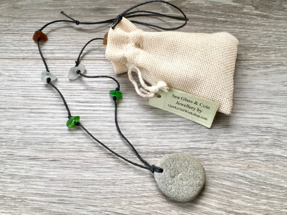 zen sea glass pebble necklace, boho beach jewelry, hippie pendant, raw stone, knotted,  natural, beachcombed,