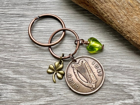 Irish penny charm or keyring, 1941 or 1942 choose coin year for a 79th or 80th birthday gift, Ireland present woman