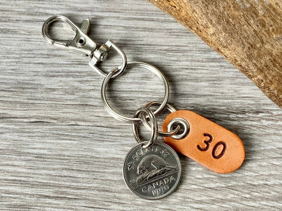 30th birthday gift, 1990 Canadian beaver nickel keychain or clip, Canada five cent keyring, 30th anniversary present for a man or woman