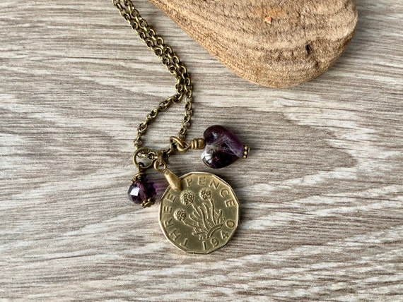 Brass threepence coin necklace with an Amethyst heart, choose coin year for a great birthday gift