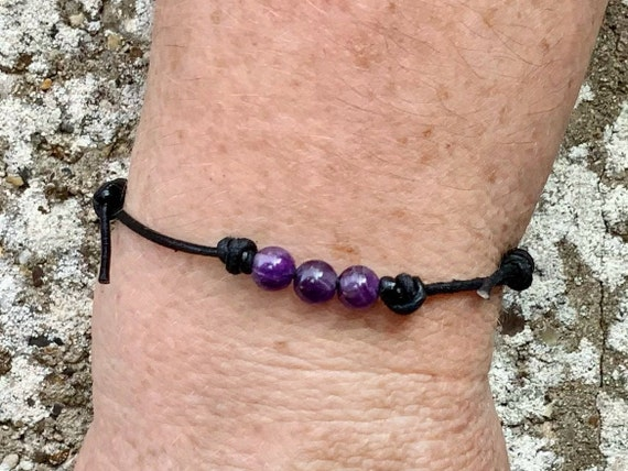 Amethyst bead knotted bracelet, simple adjustable jewellery for men or women, handmade with a choice of cotton or leather cord