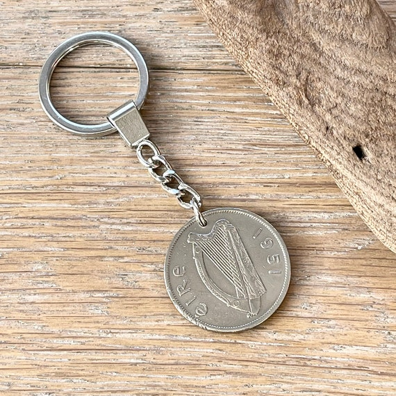 1951 Irish half crown coin keychain, Irish hunter horse keyring, a great Ireland birthday gift
