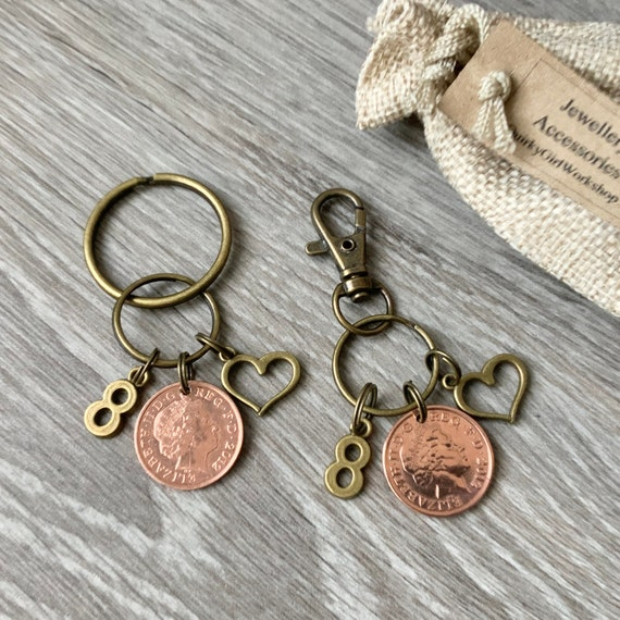Pair of KeyChains for 7th Copper Wedding Anniversary 2012 Pennies Inc Gift bag