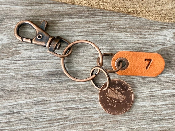 7th Irish anniversary gift, wedding anniversary, married 2014 5 euro cent coin keyring or clip, present for a man or woman