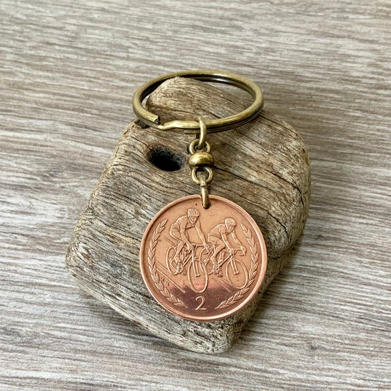 Cyclist gift, 1998 or 1997 Isle of Man coin keychain, Cycling keyring, UK 21st or 22nd anniversary or birthday gift