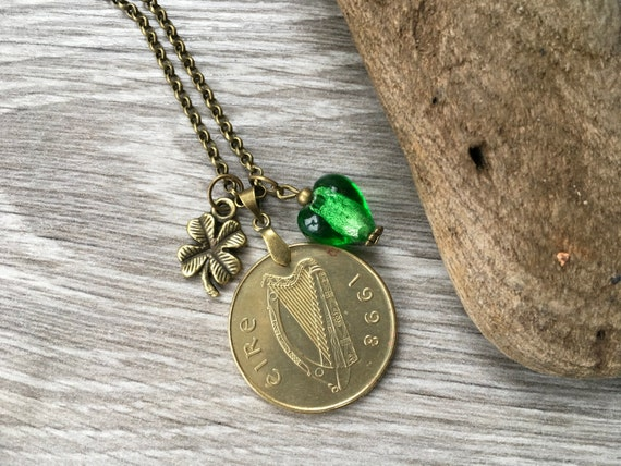 Irish long coin necklace, 1998 coin pendant, 21st birthday anniversary,  shamrock jewelry, harp, horse, lucky, Ireland, Eire gift for her