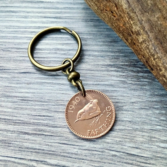 Wren Farthing keyring, 79th birthday gift, 1940 UK coin keychain, English bird, British present for a man or woman