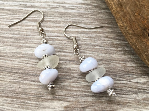 Blue lace agate and sea glass earrings, beach glass jewelry, stainless steel, unusual cool birthday gift for her woman, boho style, hippie,