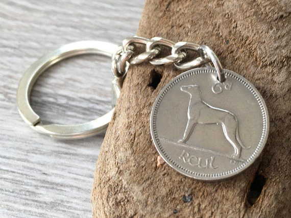 1940 Irish sixpence keychain Ireland coin keyring, 80th birthday gift, dog wolfhound, lucky charm present for a man or woman