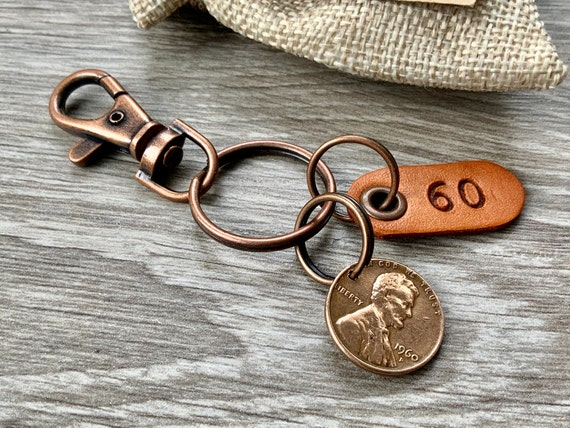 60th birthday gift, 1960 or 1961 USA coin keychain, American one cent keyring, lucky penny clip, anniversary, present for a man or woman