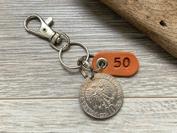 1969 Polish coin keyring, 10 zloty keychain, poland 50th birthday gift or Anniversary present for a man or woman