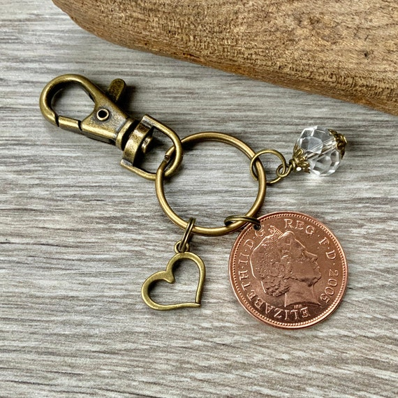 15th Anniversary gift, Crystal Anniversary, 2005 British coin keyring, keychain or clip