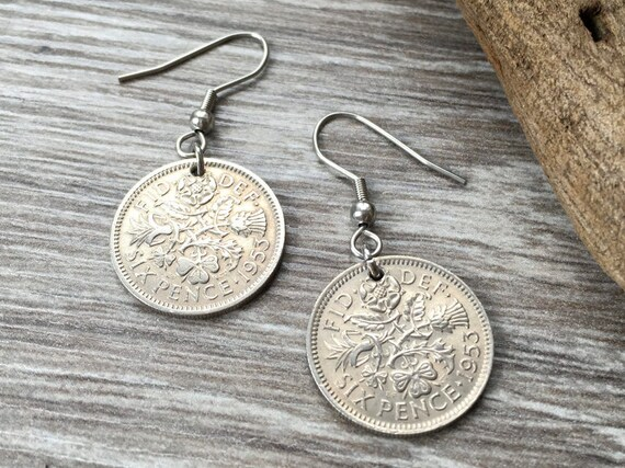 1953 British sixpence earrings, pretty English coin Jewelry, 66th birthday gift for her, retirement present woman, Sterling silver ear wires