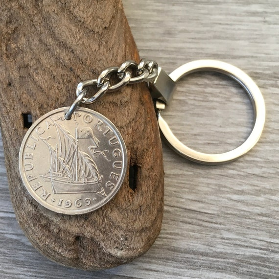 1967, 1968, 1969 Portuguese coin keyring, Portugal keychain, 5 Escudo key fob, 50th birthday gift or anniversary present for a man or woman