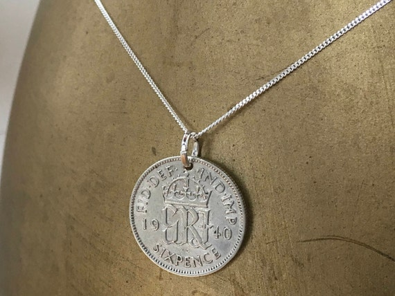 1939 or 1940 lucky sixpence necklace, pendant, 79th or 80th birthday gift, British coin jewelry, silver retirement present for her woman