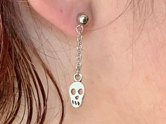 Single Skull dangle earring, also available as a pair of earrings, for men or women