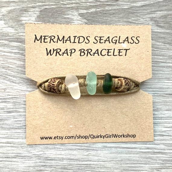 Mermaids Sea glass wrap bracelet, handmade using genuine found sea glass and a waxed cotton cord