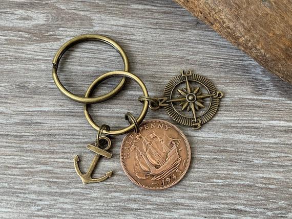 Ship coin keyring, key chain or clip, British half penny, choose coin year, sailing, navy, travel, nautical gift
