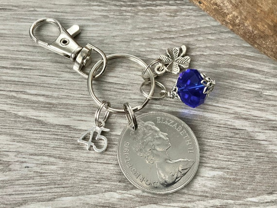 45th Sapphire Anniversary gift, 1976 British 10p coin keyring or charm clip, also great for a 45th birthday gift