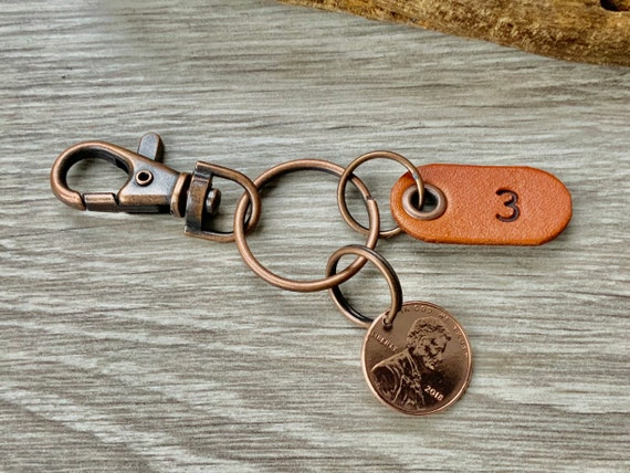 3rd anniversary gift, 2018 USA coin keyring, United States one cent keychain or clip, Leather wedding Anniversary three years