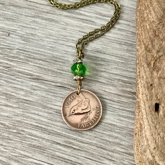 Farthing necklace, 1938, 1939 or 1940 Choose coin year, wren pendant, choose coin year for a perfect birthday gift for a woman