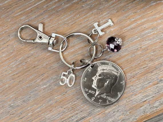 1971 American 50 cent coin purse charm, choose birthstone and initial, 50th birthday or anniversary gift, USA half dollar