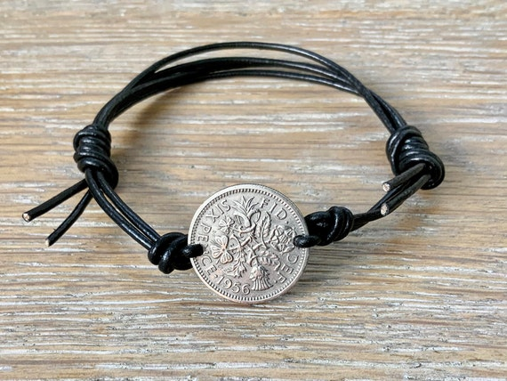 Lucky Sixpence adjustable bracelet handmade with a knotted leather or cotton cord, good luck present, choose coin year